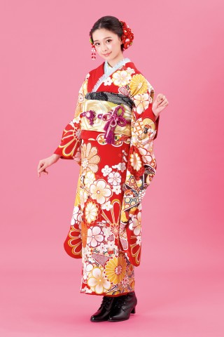 赤 菊・梅・桜の丸み花模様