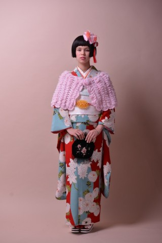 No.774 modern antenna 紅葉に菊(赤/水色)の衣装画像1