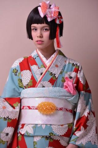 No.774 modern antenna 紅葉に菊(赤/水色)の衣装画像2