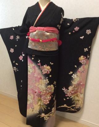 黒ピンク桜柄