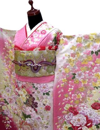 白 ピンク 牡丹に桜 F-213