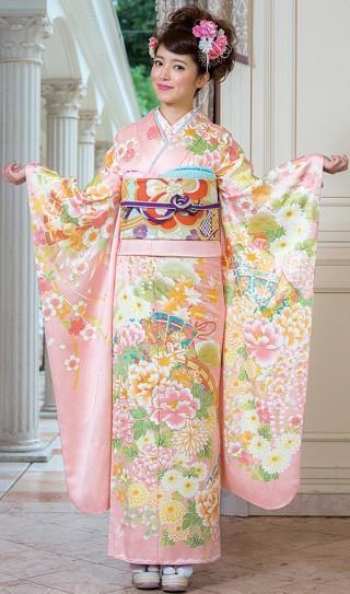 ピンク系古典柄振袖の衣装画像1