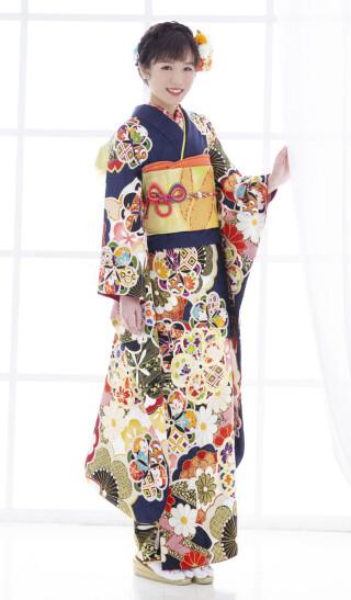 03436紺 大桜金駒刺繍