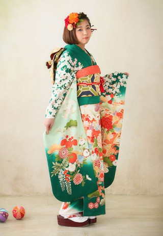 No.27125 【IKKO FURISODE】〜モダングリーン〜