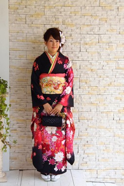 黒赤 花柄 120000円+税
