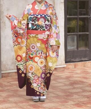 平由奈♡上品キュートなサーモンピンクの振袖