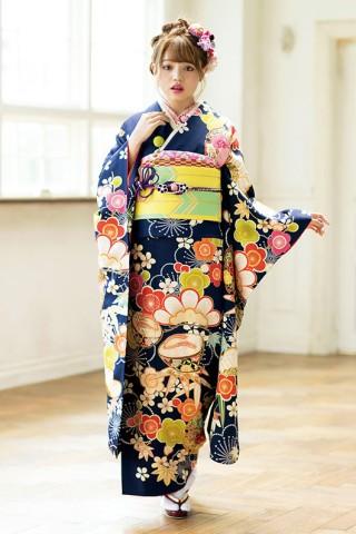 No.4097 鮮やかな紺色の振袖 ちぃぽぽ style OE-1220
