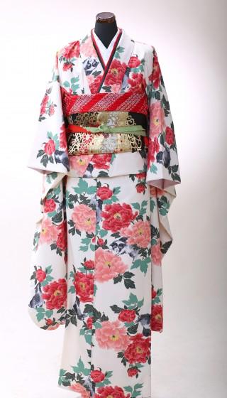 No.21124 牡丹と狗(白)