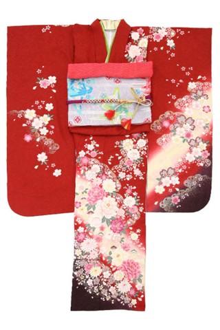 華やか系☆王道カラーの赤が可愛い振袖!!の衣装画像1