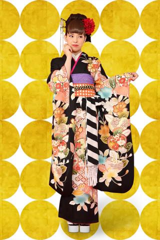 【成人式/参列/振袖】モダンな黒で粋な女子◆黒地橘に八重桜
