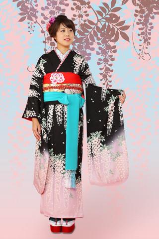 【成人式/参列/振袖】かわいい舞妓さん風◆黒地藤娘