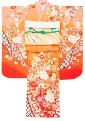No.12171 橙色と朱色の古典柄振袖
