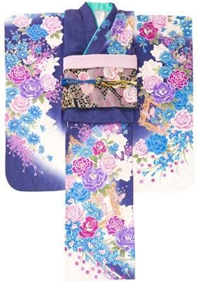 モダンな瑠璃色の薔薇柄振袖の衣装画像1