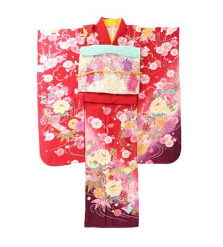 人気の赤に彩り取りの花柄が映える☆の衣装画像1