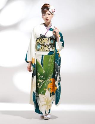 K14 3418 クール系振袖 白系/緑系の衣装画像1
