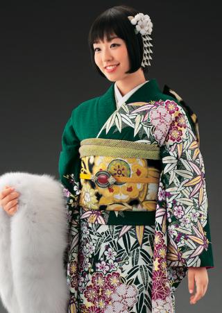 2014年新作古典柄振袖【笹緑】の衣装画像2