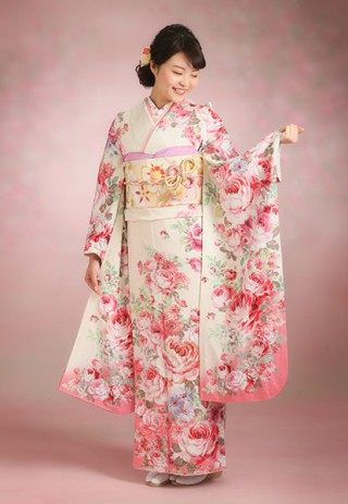 No.14050 【LIZ LISA】白×ピンクのロマンチックな振袖