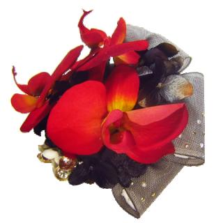 胡蝶蘭とリボンの髪飾り