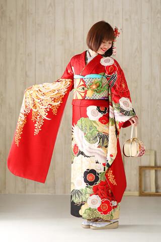 ◆花柄振袖-赤-◆