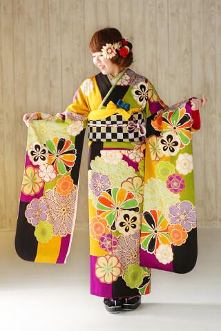 ◆花柄振袖-黄-◆