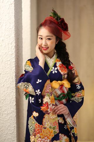 ◆花柄振袖-青-◆の衣装画像2