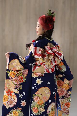◆花柄振袖-青-◆の衣装画像3