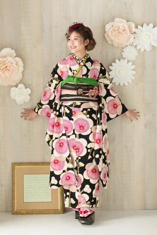 ◆花柄振袖-黒-◆の衣装画像2