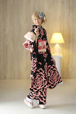 ◆花柄振袖-黒-◆