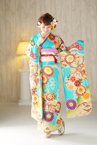 ◆花柄振袖-青-◆