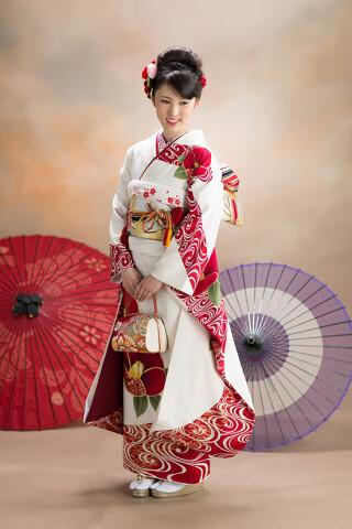 ◆花柄振袖-白-◆