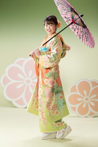 ◆花柄振袖-緑-◆