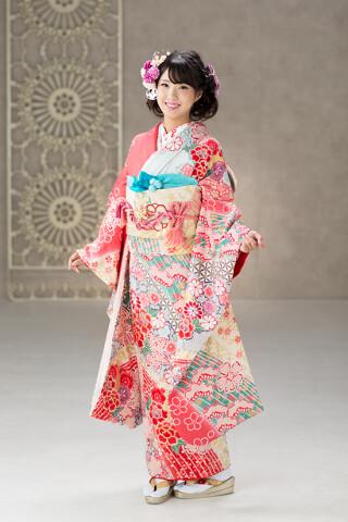 ◆花柄振袖-ピンク-◆