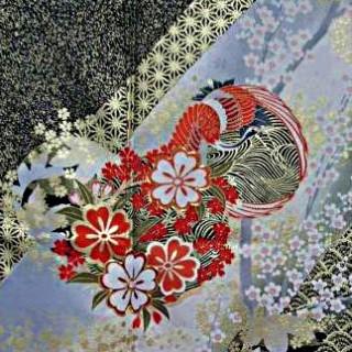 2015年成人式振袖レンタル 商品番号154 黒地金しもふり花柄 39,800円の衣装画像2