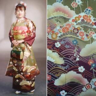 2015年成人式振袖レンタル 商品番号164 抹茶青海紫ぼかし 39,800円の衣装画像1