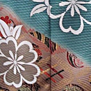 2015年成人式振袖レンタル 商品番号187 グリーン花柄裾茶 39,800円の衣装画像2