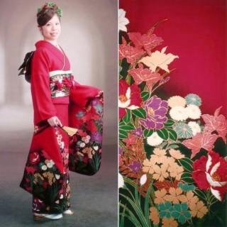 2015年成人式振袖レンタル 商品番号229 赤地裾ぼたん柄 39,800円の衣装画像1