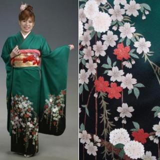 2015年成人式振袖レンタル 商品番号235 グリーン裾枝垂桜 39,800円の衣装画像1