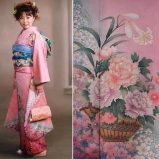 2015年成人式振袖レンタル 商品番号236 ピンク花柄 39,800円の衣装画像1