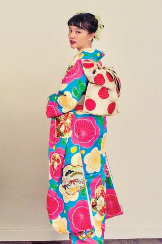 ブルー×ピンク大梅 ドットの衣装画像3