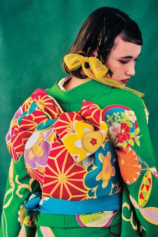 ライムグリーン 菊・七宝の衣装画像2