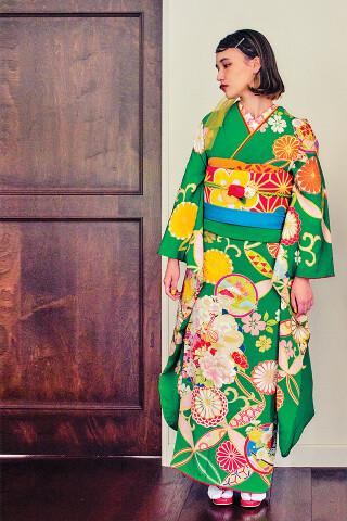 ライムグリーン 菊・七宝の衣装画像3