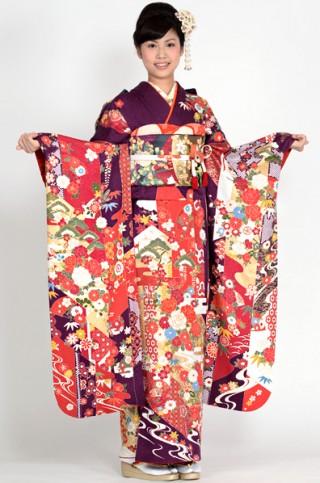 上品な貝紫地に百花柄振袖 【MKK-28017】の衣装画像2