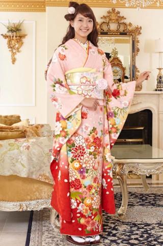ピンク地に牡丹桜と扇面柄振袖 【MKK-28004】