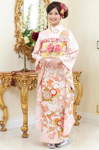 ピンク地がふんわり可憐な桜の花柄振袖 【MKK-28007】