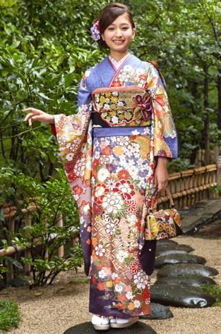 群青地に豪華絢爛花車柄【MKK-2901】の衣装画像1