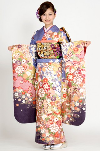 群青地に豪華絢爛花車柄【MKK-2901】の衣装画像2