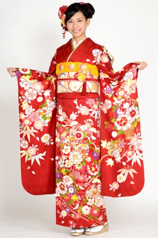 赤地に愛らしい桜と毬柄振袖 【MKK-2905】の衣装画像2