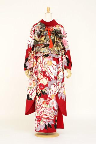 レトロモダン赤地振袖の衣装画像2