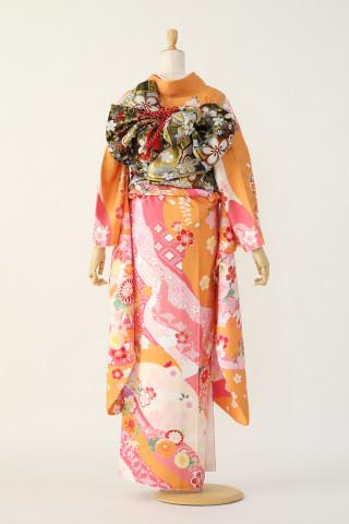 オレンジ古典振袖の衣装画像2