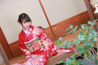 赤×ピンク桜柄